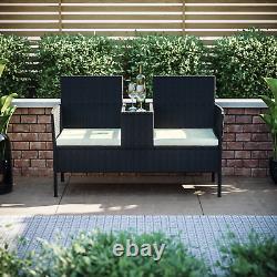 Rattan Garden Love Siège Twin Chaise Couples Extérieur Patio Meubles Banc Noir