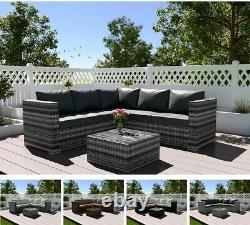 Rattan Garden Meubles 4 Seater Corner Lounge Table De Café Ensemble De Patio Extérieur