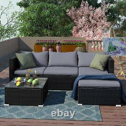 Rattan Garden Meubles Extérieur 5pcs Patio Canapé Set Chaises Table (rupert Noir)