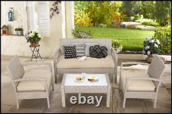 Rattan Garden Meubles Set Extérieur Patio Table À Café Canapé Chaises Set 7 Pcs Uk