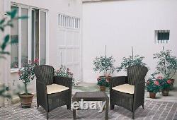 Rattan Garden Set Effet Table & Chaises Set Patio Set 3 Pièces Bistro Set