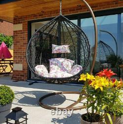 Rattan Hanging Swing Patio Egg Chair Floral Cushion Garden Meubles Extérieurs