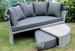 Rattan Outdoor Garden Day Bed Patio Sun Lounger Aluminium, Gris, Coussin Épais