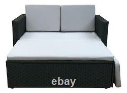 Rattan Outdoor Garden Sofa Furniture Love Bed Patio 2 Places Black With Cover