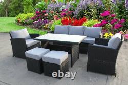 Rattan Wicker Garden Extérieur Cube Table Et Chaises Meubles Patio Ensemble De Repas