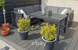 Réformé Keter Rotin Jardin Set Canapé D'angle Table D'extérieur Patio Conservatoire