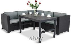 Rénové Keter Rattan Garden Set Corner Sofa Table Outdoor Patio Conservatory