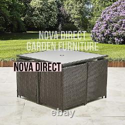 Rotin Brown Jardin Meubles Salle À Manger Cube Set Chaises Sofa Table Patio Extérieur