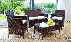 Rotin Meubles De Jardin Ensemble 4 Chaises Piece Sofa Table Patio Extérieur Conservatoire