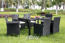 Rotin Meubles De Jardin Table À Manger Et 6 Chaises Salle À Manger Ensemble Patio Extérieur