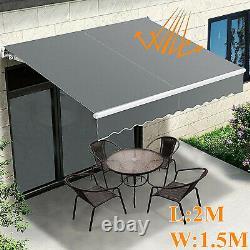 Royaume-uni Auvent Rétractable Manuel Jardin Extérieur Canopy Patio Soleil Shade Shelter Grey