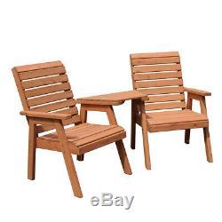 Salon De Jardin Chaise De Jardin Banc 2 Places En Bois Massif Extérieur Chaise Double Mobilier
