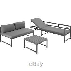 Salon De Jardin Table Seating Aluminium Patio Meubles Salon Canapé D'extérieur Gris Nouveau