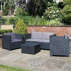 Shaf En Plastique Rattan Meubles De Jardin Extérieur 4pcs Patio Canapé Set Chaises Table