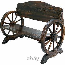 Siège De Banc De Jardin En Bois Burnt Wood Outdoor Park Patio 2/3 Seat Wagon Cart Wheel