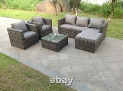 Sofa En Rotin De 6 Places Réglé Ottoman Extérieur Meubles De Jardin Patio Gris