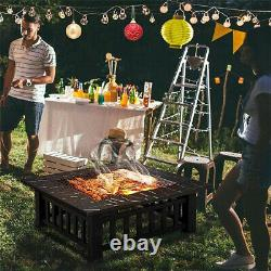 Square Round Fire Pit Bbq Grill Outdoor Garden Party Brazier Stove Patio Chauffage