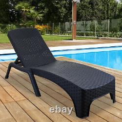 Sun Lounger Outdoor Garden Patio Relaxer Grey Rattan Inclinable Bed Furniture Nouveau
