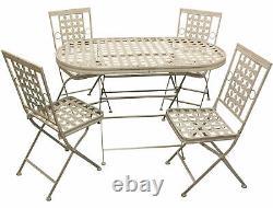 Table À Manger Extérieure En Métal De Patio De Jardin De Woodside Et Ensemble De 4 Chaises
