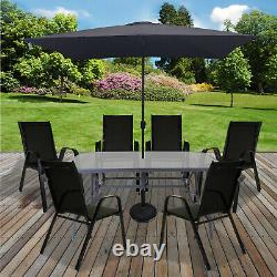 Table & Chaises Set Jardin Extérieur Patio Noir Meubles Parasol De Table En Verre