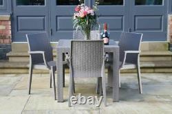 Table De Jardin De Rotin Empilable Et Chaises Réglées Meubles Extérieurs/intérieurs De Patio Gris