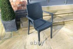 Table Et Chaises En Rotin Pour Patio / Extérieur / Intérieur / Empilable / Pour Jardin
