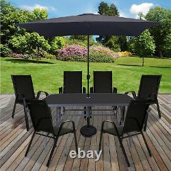 Table Et Chaises Ensemble Jardin Extérieur Patio Meubles Noirs Table Parasol Base