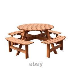 Table Ronde De Jardin En Bois Et 4 Chaises Bench Seat Meubles Royaume-uni