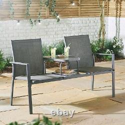 Vonhaus Garden Love Seat Patio Textoline Jack And Jill Grey Companion Bench
