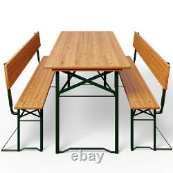 Wooden Garden Table Beer Bench Back Set Outdoor Patio Furniture Seat Party Bbq