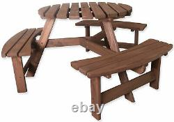 Woodside 6 Seater Round Outdoor Pressure Treated Pub Bench/garden Picnic Table