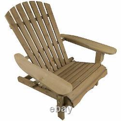 Woodside Adirondack Outdoor Garden Patio Chair, Confortable Chaise Longue En Bois